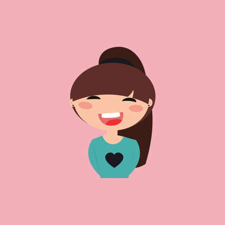 particular: Cute girl with a particular expression face on a pink background