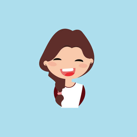 particular: Cute girl with a particular expression face on a blue background