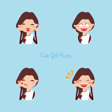 Cute girl with different expression faces on a blue background