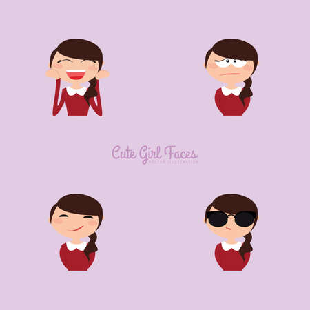 Cute girl with different expression faces on a purple background Illustration