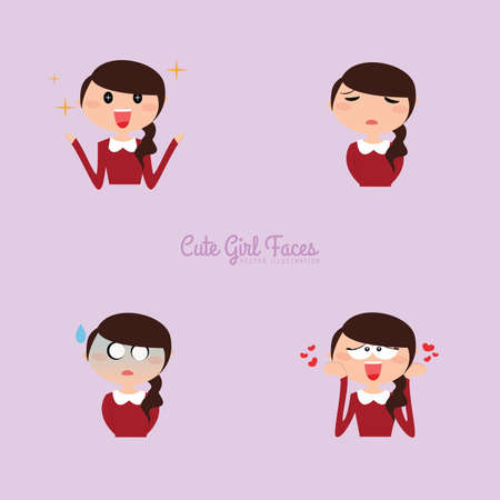 portrait young girl studio: Cute girl with different expression faces on a purple background Illustration