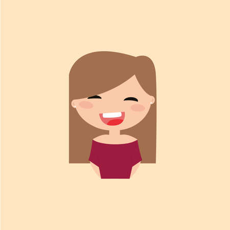particular: Cute girl with a particular expression face on a yellow background