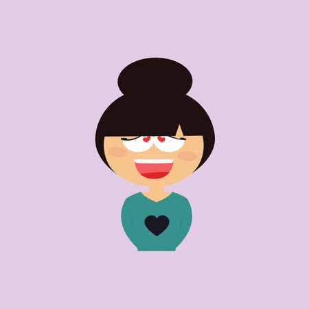 particular: Cute girl with a particular expression face on a purple background