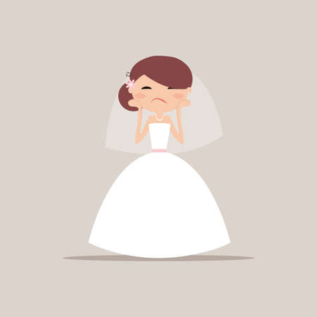 beautiful sad: Cute girlfriend with a wedding dress and a particular expresion face on a gray background