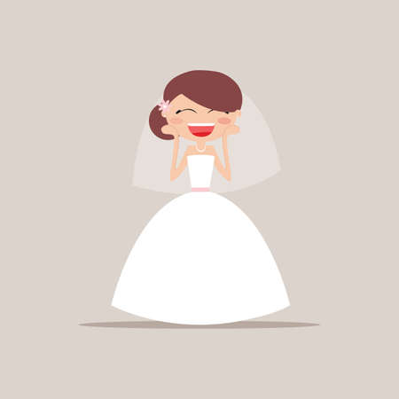 particular: Cute girlfriend with a wedding dress and a particular expresion face on a gray background