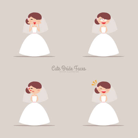 face expressions: Cute girlfriend with a wedding dress and a different expresion faces on a gray background