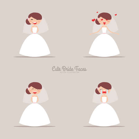 different thinking: Cute girlfriend with a wedding dress and a different expresion faces on a gray background