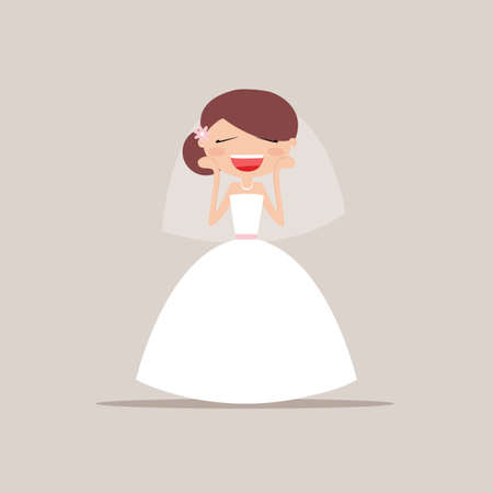girlfriend: Cute girlfriend with a wedding dress and a particular expresion face on a gray background