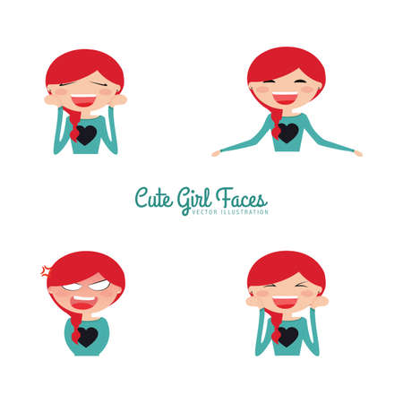 particular: Cute girls with a particular expression faces on a white background