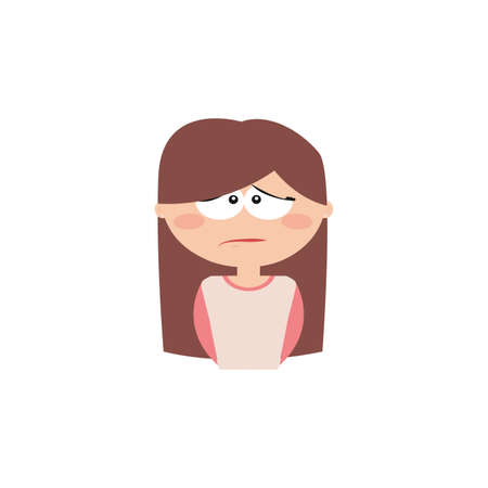 particular: Cute girl with a particular expression face on a white background