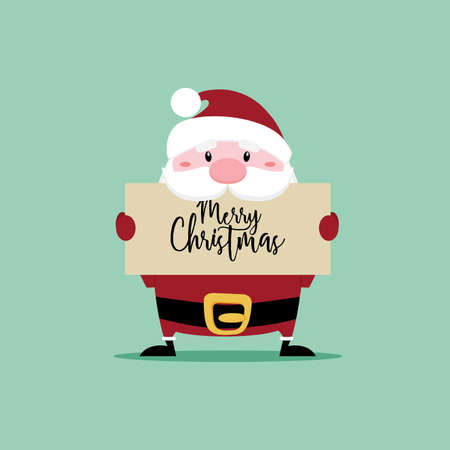 Abstract cute cartoon santa claus on a green background Illustration