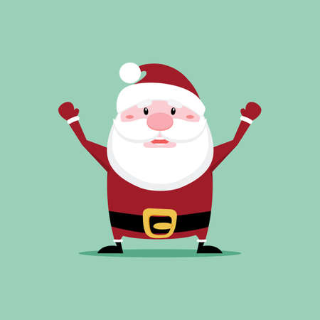 old man portrait: Abstract cute cartoon santa claus on a green background Illustration
