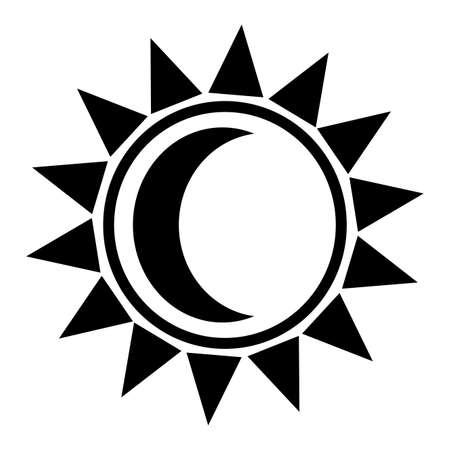 Abstract sun and moon shape on a white background