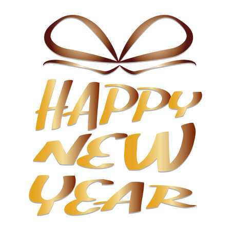 Happy new year lettering with ribbon