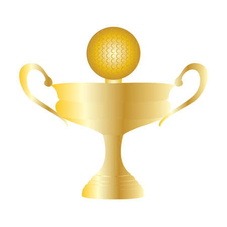 Abstract golf trophy object on a white background
