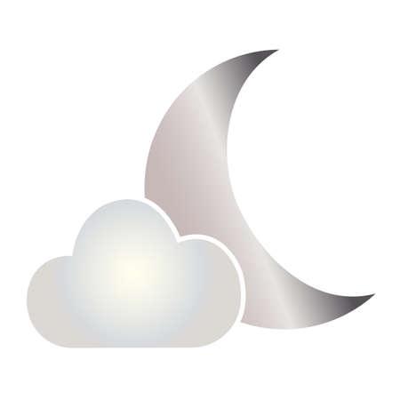 白い背景に雲の後ろの抽象的な月の形