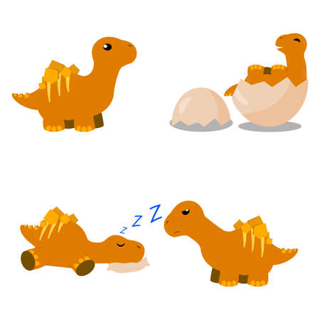 Abstract cute cartoon dinosaur on a white background