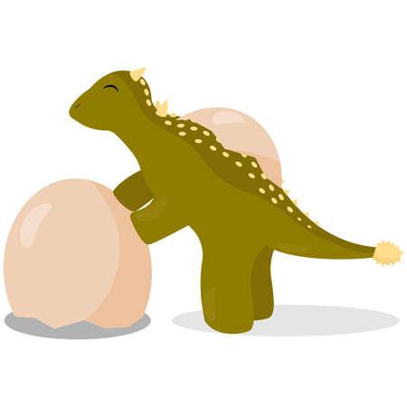Cute cartoon dinosaur Illustration
