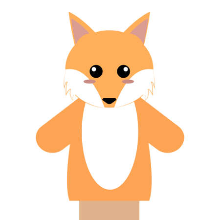 Abstract cute puppet fox  animal on a white background