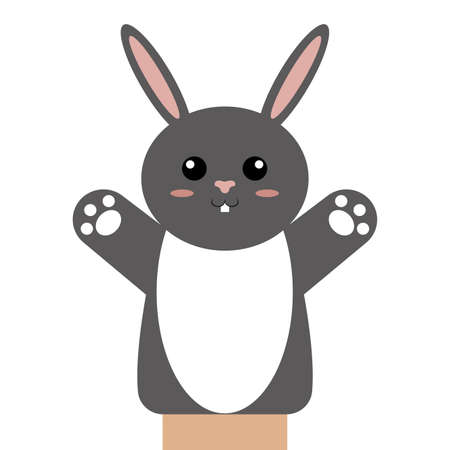 Cute puppet animal on plain background.