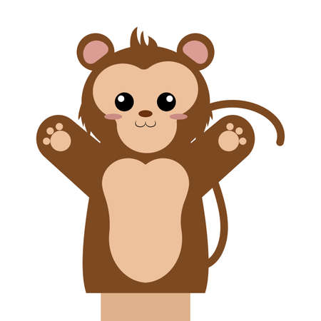 Abstract cute puppet monkey  animal on a white background