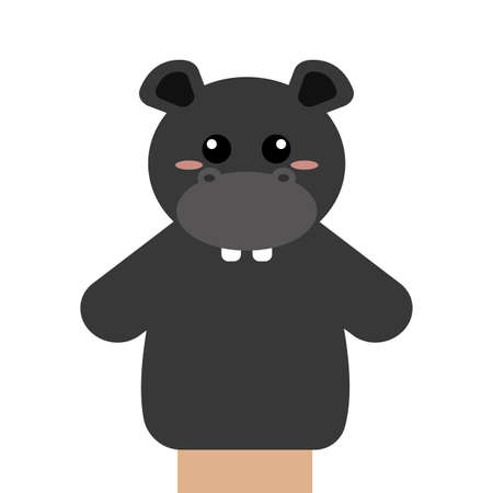 Abstract cute puppet Hippo  animal on a white background Vectores