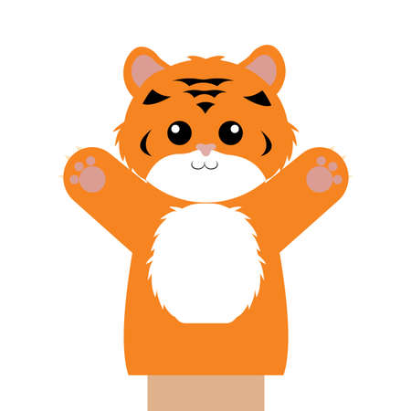 Abstract cute puppet tiger animal on a white background Illustration