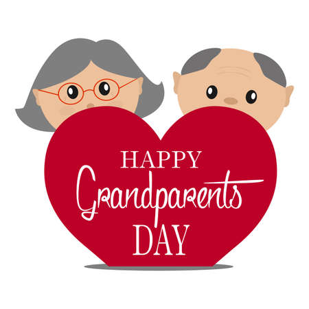 Happy grandparents day on plain background. Illustration