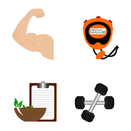 Abstract sport gym equipment and biceps. Vector illustration. Illustration