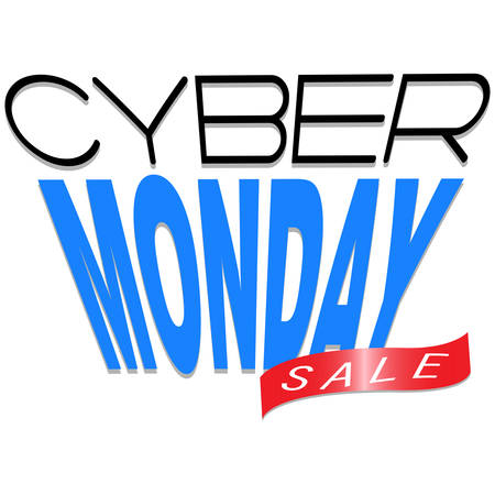 Abstract cyber Monday label on a white background illustration.