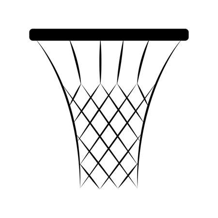 Abstract Basketball net in black and white illustration.