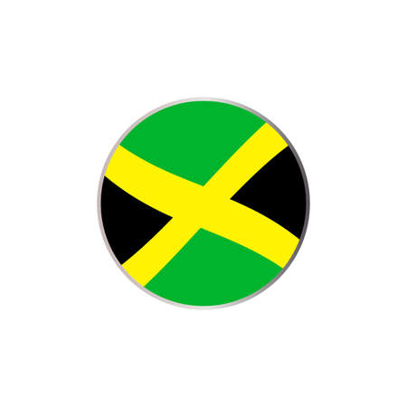 Abstract Jamaica flag circle icon on a white background Illustration