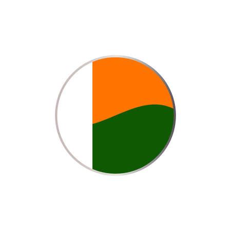 白い背景に抽象的なコートジボワールの旗の円アイコン 写真素材 - 92545256
