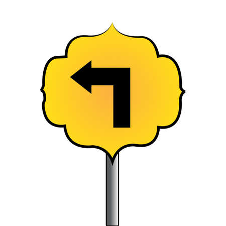 Abstract traffic signal, directional arrow on a white background