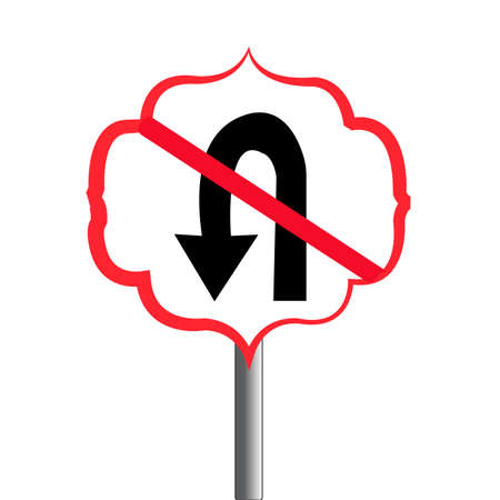 Abstract traffic signal. No u-turn sign. Illustration