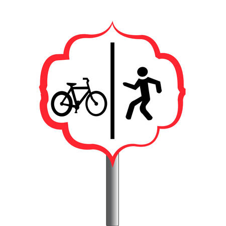 Abstract pedestrian and bicycle traffic signal isolated on white background.