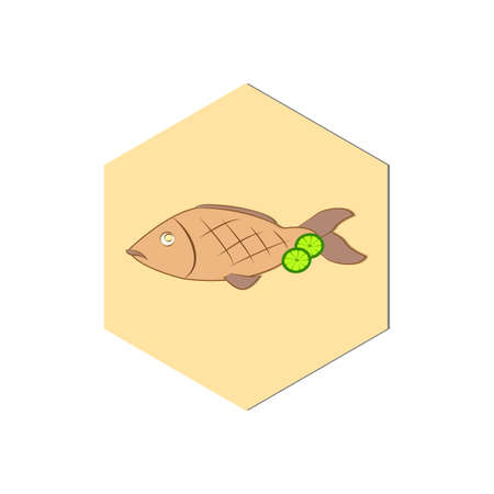 Abstract food icon. Fish icon. Stock Illustratie