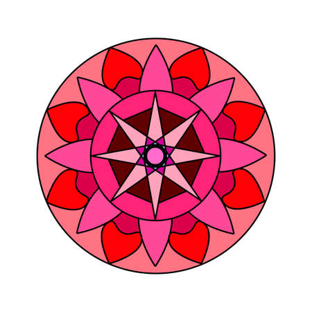 Abstract cute mandala with differ colors. Banco de Imagens - 97696796