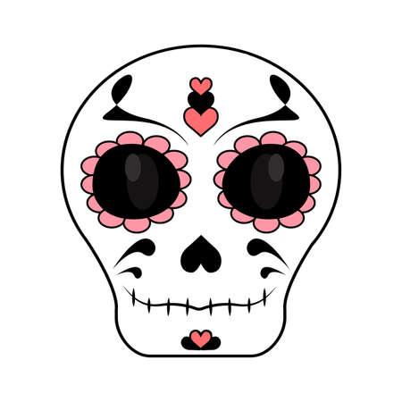 Resumen día del cráneo muerto sobre un fondo blanco. Ilustración de vector