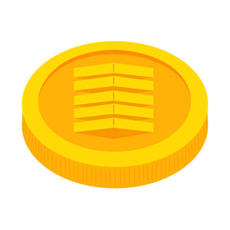 Abstract virtual coin object on a white background