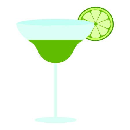 Cocktail with lime illustration Ilustração