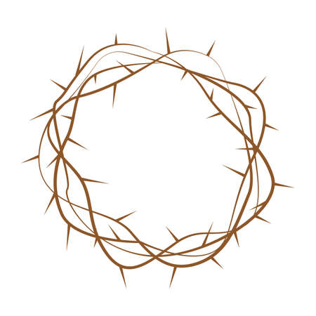Holy week object - thorn wreath Vector illustration.