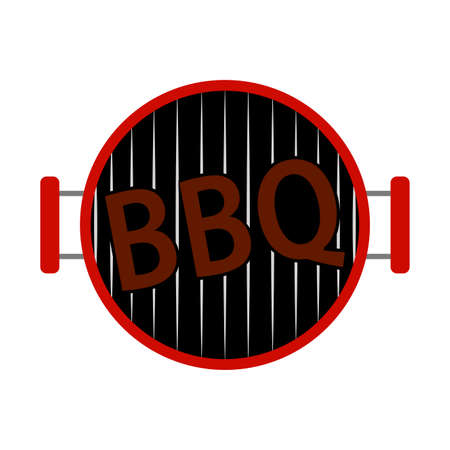 Abstract BBQ label with grill illustration on white background. Illustration