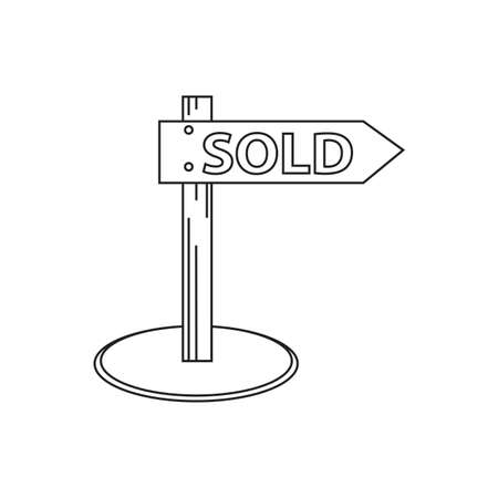 Buying home symbol sign post with sold Vector illustration.