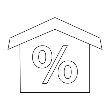 Buying home symbol house with percentage sign Vector illustration.