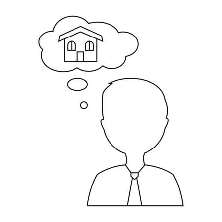 Buying home symbol man thinking of house Vector illustration.