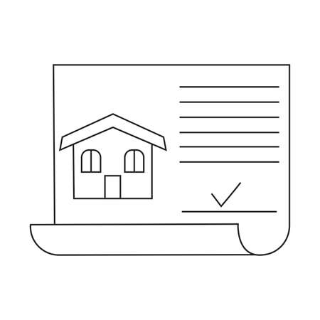 Buying home symbol contract with house and check mark Vector illustration. Illustration