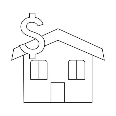 Buying home symbol house with dollar sign Vector illustration.