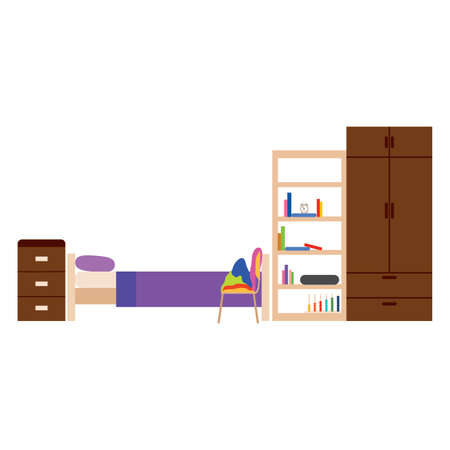 abstract college student dorm room with some special objects