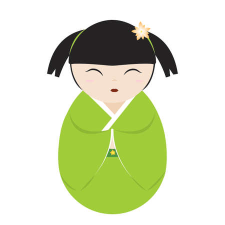 abstract cute geisha character on a white background 일러스트